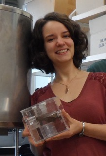 Clara Maurel holds a meteorite. (Photo: courtesy of Maurel)