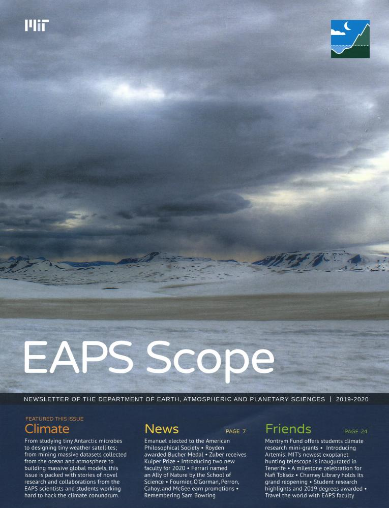 EAPS Scope Magazine Cover 2019-2020 showing an icy landscape
