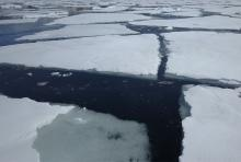 cracks in sea ice field