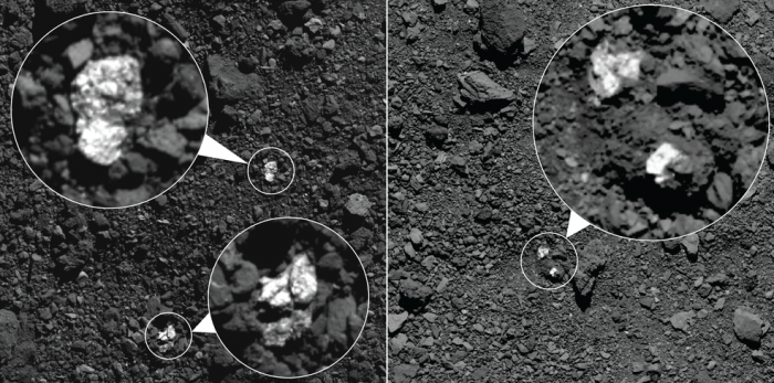 Images show fragments of asteroid Vesta present on asteroid Bennu's surface. The bright boulders (circled in the images) are pyroxene-rich material from Vesta.