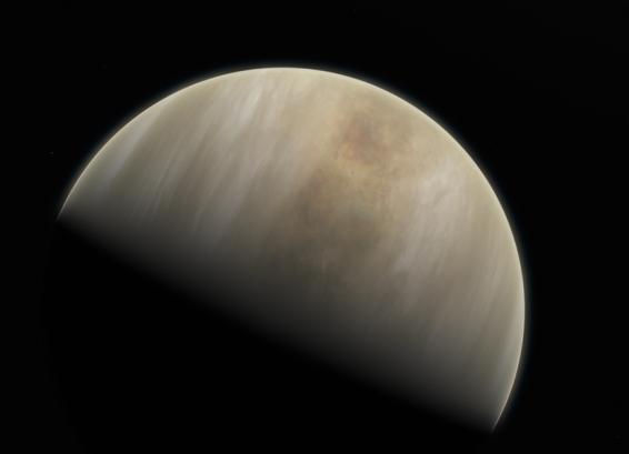 This artistic impression depicts Venus. Astronomers at MIT, Cardiff University, and elsewhere may have observed signs of life in the atmosphere of Venus.